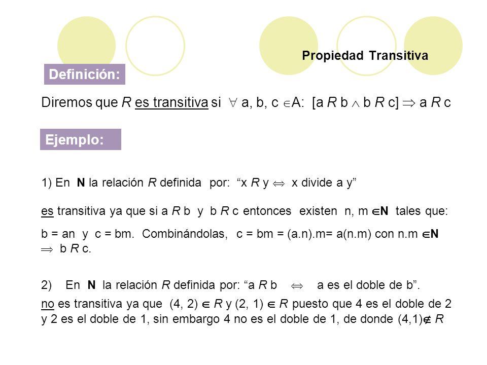 Diremos que R es transitiva si  a, b, c A: [a R b  b R c]  a R c